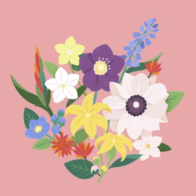 De Uitstekende Overladen Inzameling van de bloembloesem royalty-vrije illustratie