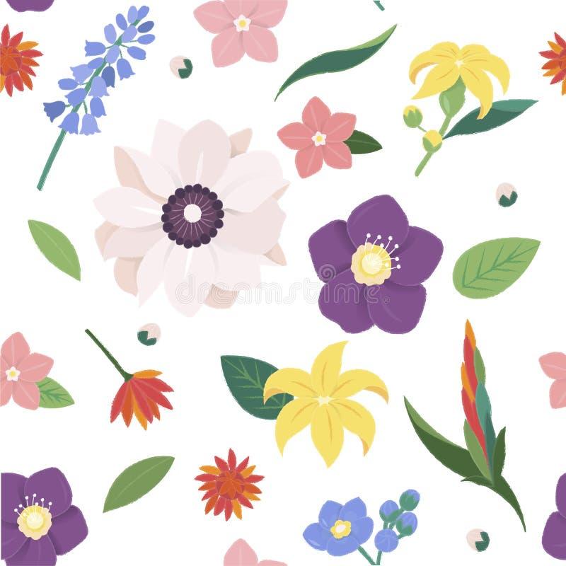 De Uitstekende Overladen Inzameling van de bloembloesem stock illustratie
