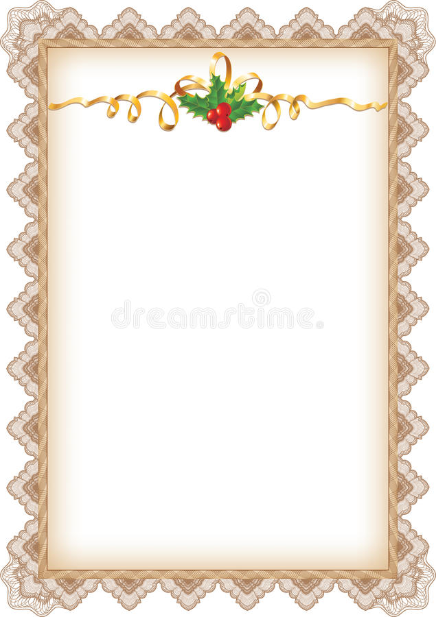De uitstekende Pagina van Kerstmis met Hulst stock illustratie