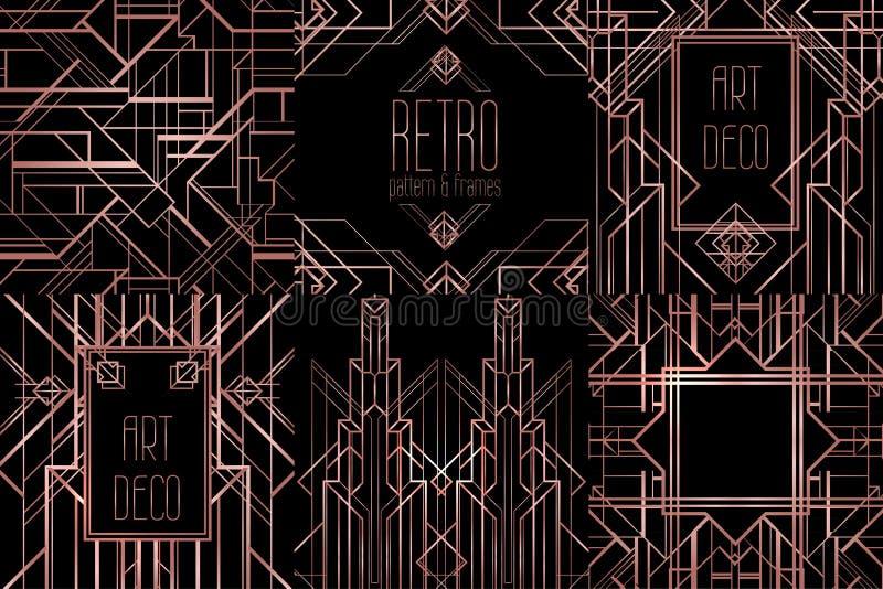 De uitstekende patronen van Art Deco en ontwerpelementen Retro partij geome royalty-vrije illustratie