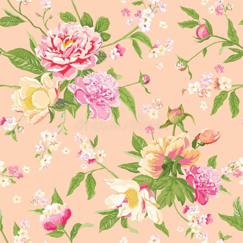 De uitstekende Pioen bloeit Achtergrond vector illustratie