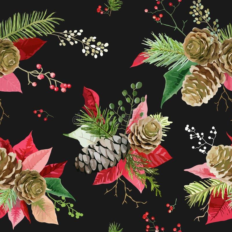 De uitstekende Poinsettia bloeien Achtergrond - Naadloos Kerstmispatroon royalty-vrije illustratie