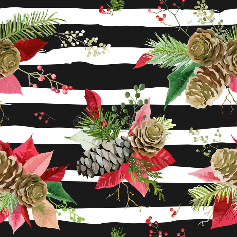 De uitstekende Poinsettia bloeien Achtergrond - Naadloos Kerstmispatroon stock illustratie