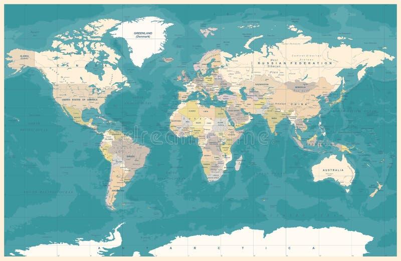 De uitstekende Politieke Topografische Gekleurde Vector van de Wereldkaart vector illustratie