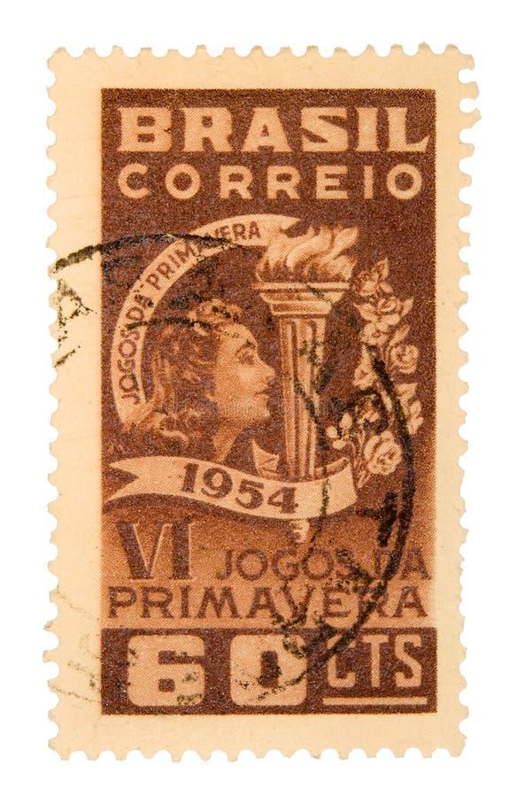 De uitstekende Postzegel van Brazilië stock afbeeldingen