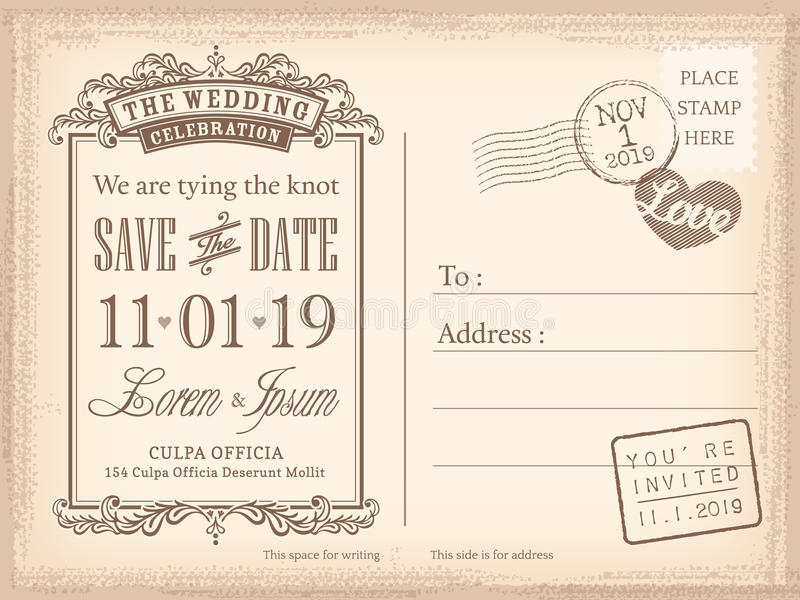 De uitstekende prentbriefkaar bewaart de datumachtergrond voor huwelijksuitnodiging stock illustratie
