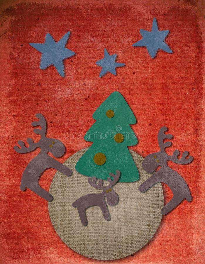 De uitstekende prentbriefkaar van Kerstmis royalty-vrije stock fotografie