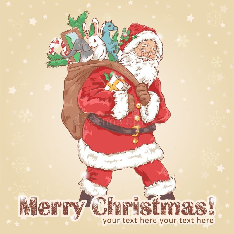 De uitstekende prentbriefkaar van Kerstmissanta claus stock illustratie