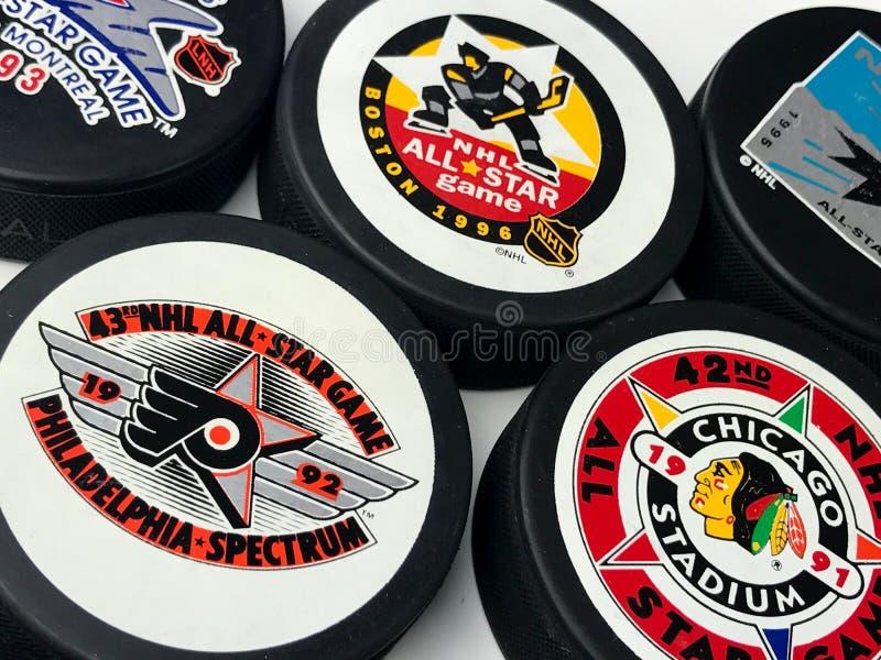 De uitstekende Pucks van NHL All Star stock foto