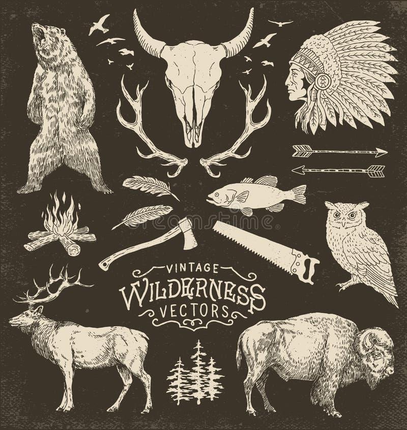 De uitstekende Reeks van de Wildernis Vectorillustratie stock illustratie