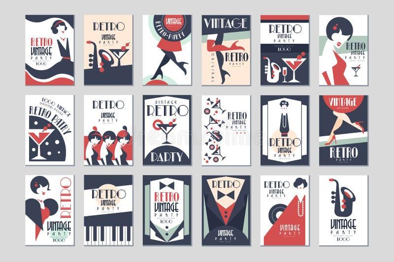 De uitstekende reeks van de partijaffiche, retro vectorillustraties van het stijlontwerp vector illustratie