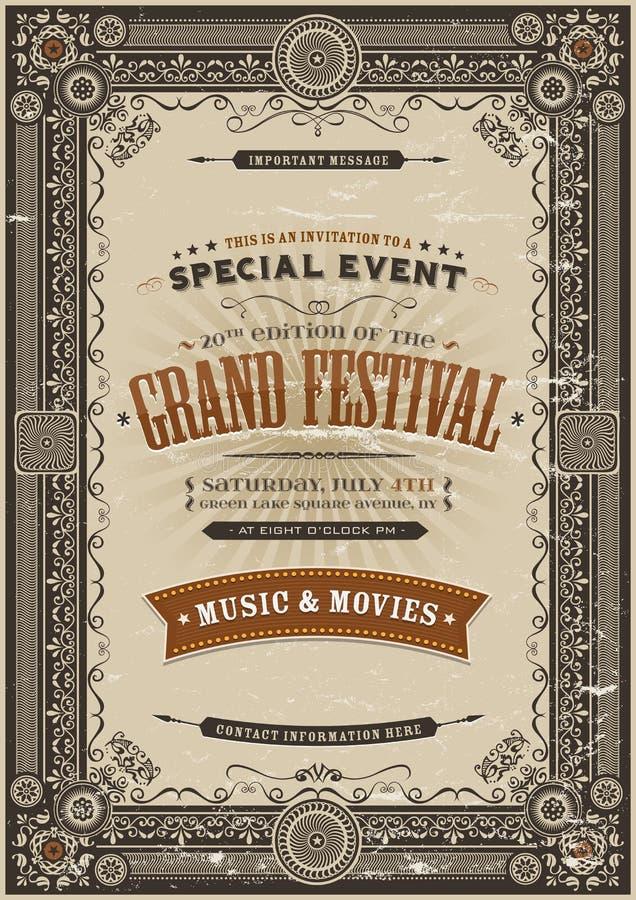 De uitstekende Retro Achtergrond van de Festivalaffiche stock illustratie