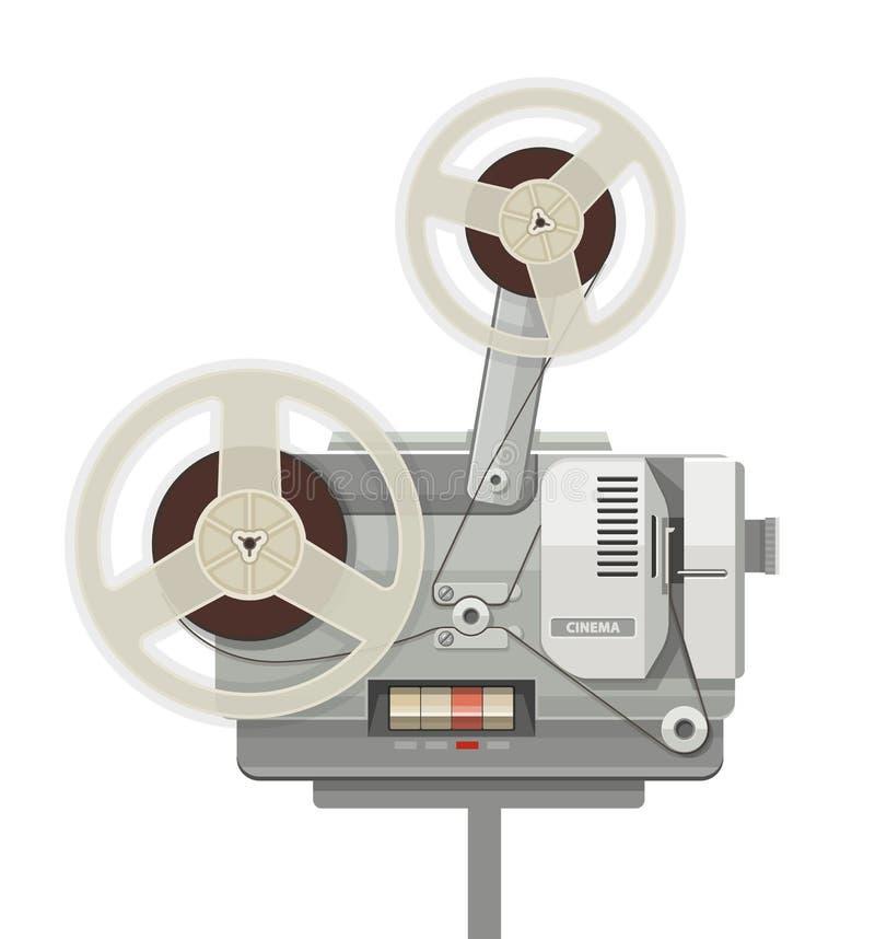 De uitstekende retro bioskoopprojector voor film toont royalty-vrije illustratie