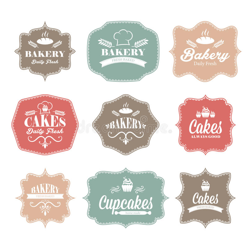 de uitstekende retro etiketten van het bakkerijembleem royalty-vrije illustratie