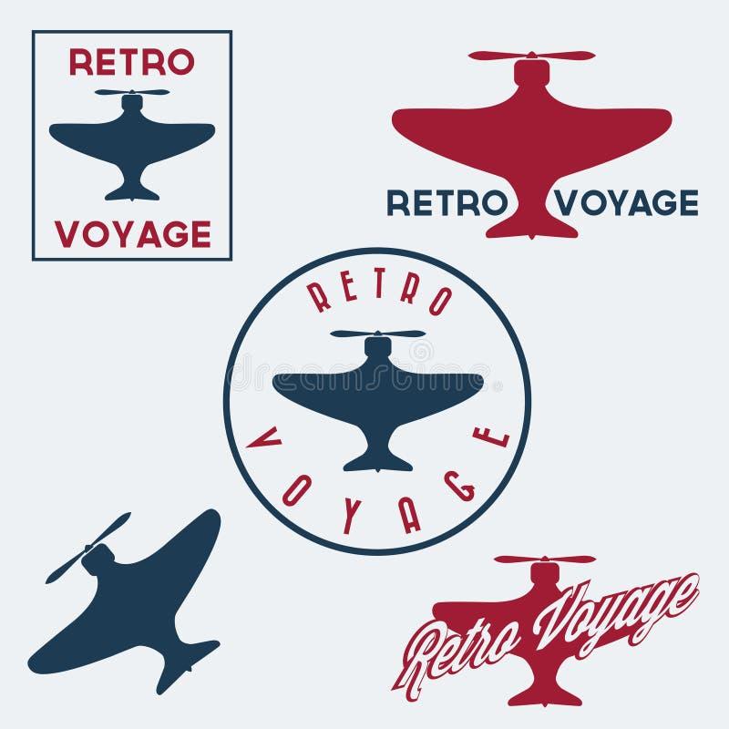 de uitstekende retro kentekens en de etiketten van de luchtvaartkundevlucht vector illustratie