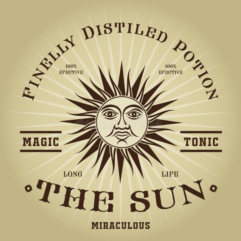 De uitstekende Retro Magische Tonische Verbinding van The Sun royalty-vrije illustratie