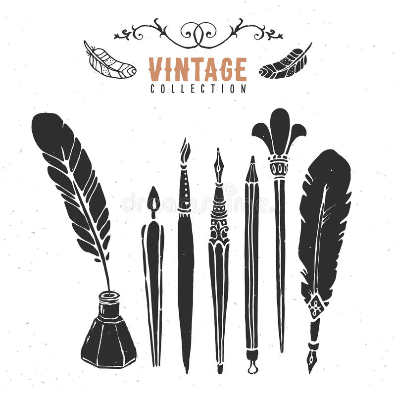 De uitstekende retro oude inzameling van de de borstelinkt van de bonenpen stock illustratie