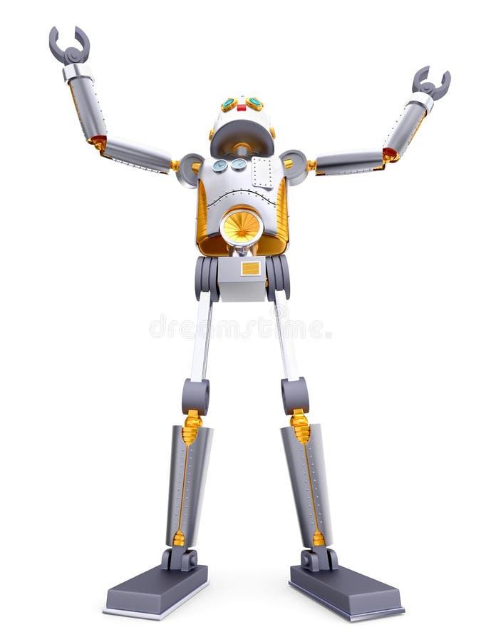 De uitstekende retro robot bidt stock illustratie