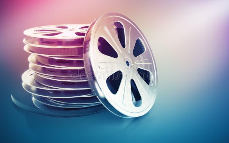 De uitstekende retro schijf van de bioskoopfilm met band vector illustratie