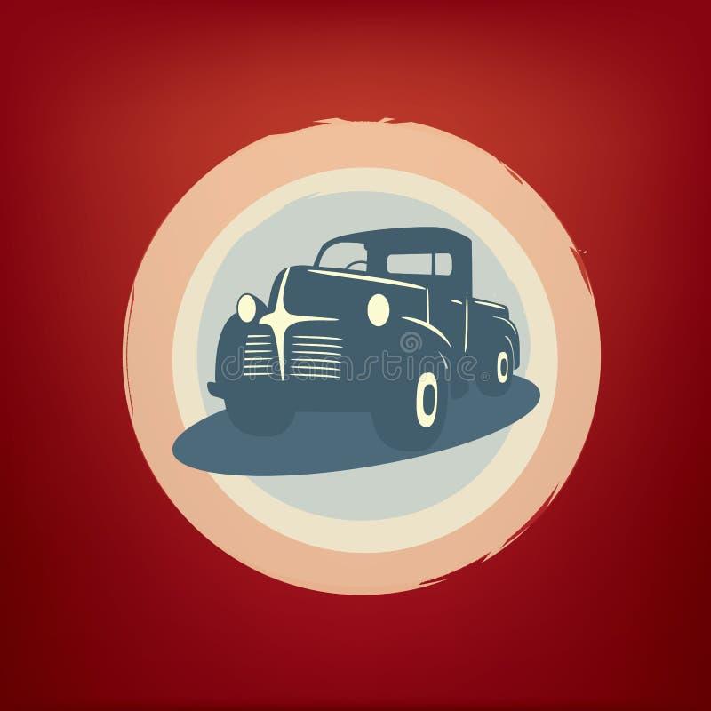 De uitstekende retro vector van de pick-upauto stock illustratie