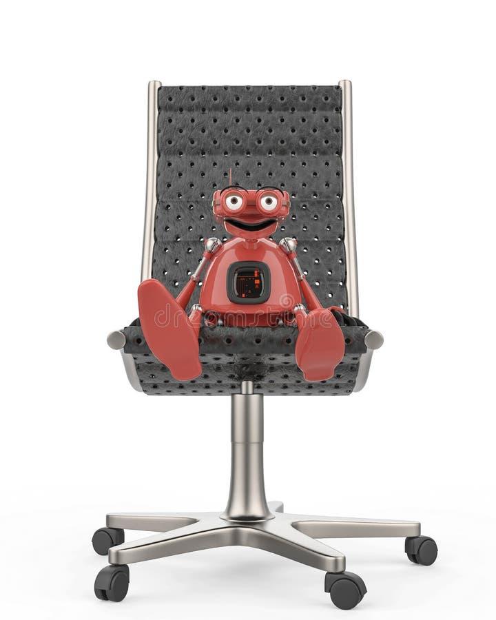 De uitstekende robotwerkgever is op de stoel op een witte achtergrond stock illustratie