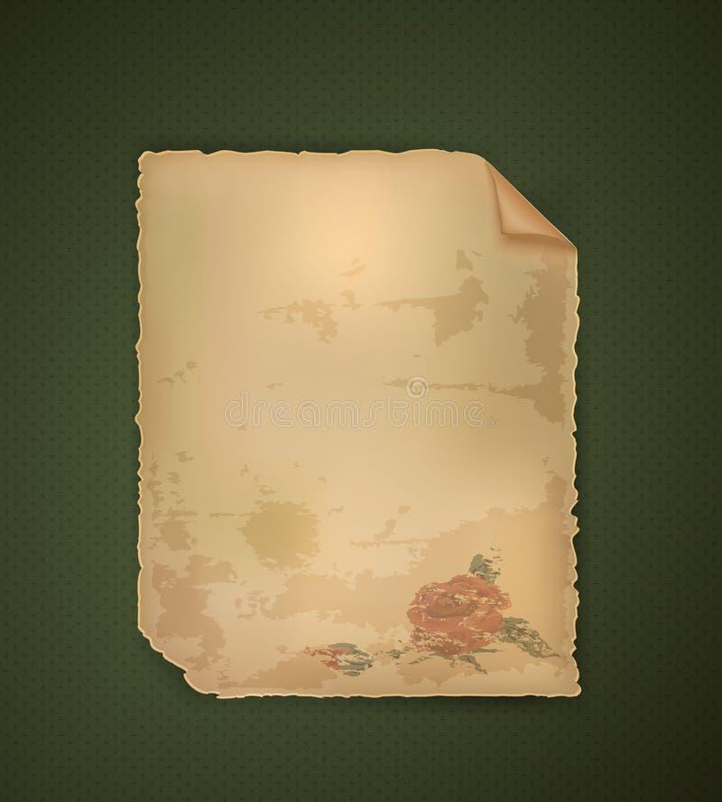 De uitstekende romantische brief met nam op donkergroene achtergrond, romantische nostalgie toe, stock illustratie