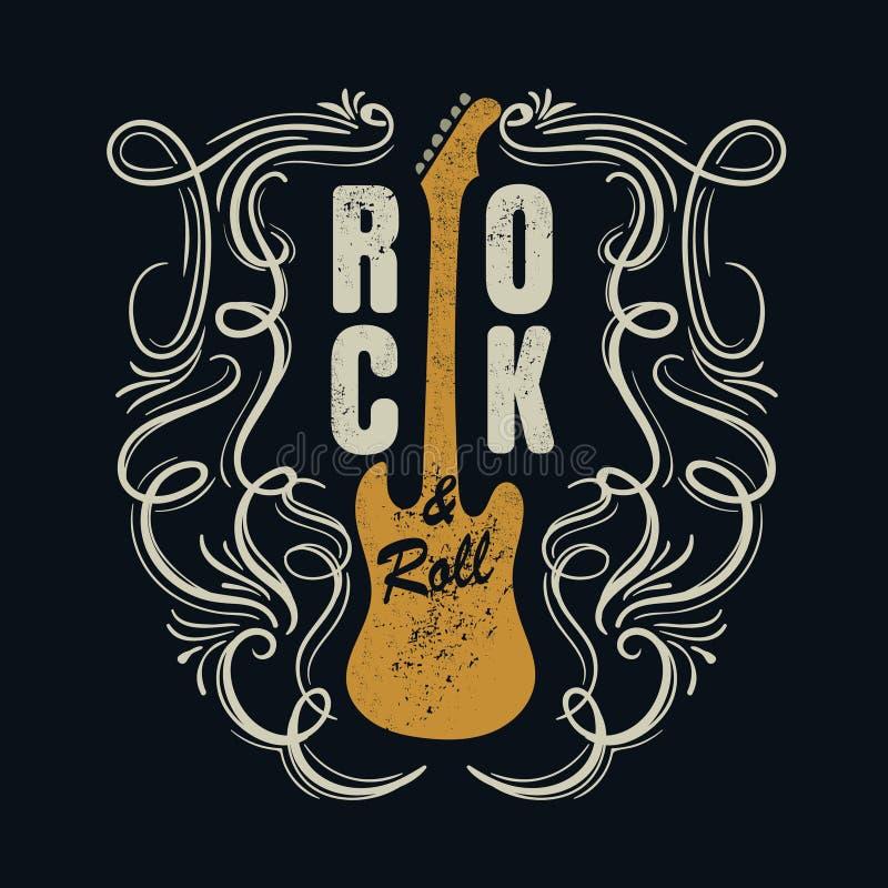 De uitstekende rots - en - rolt typograpic voor t-shirt, T-stuk designe, affiche stock illustratie