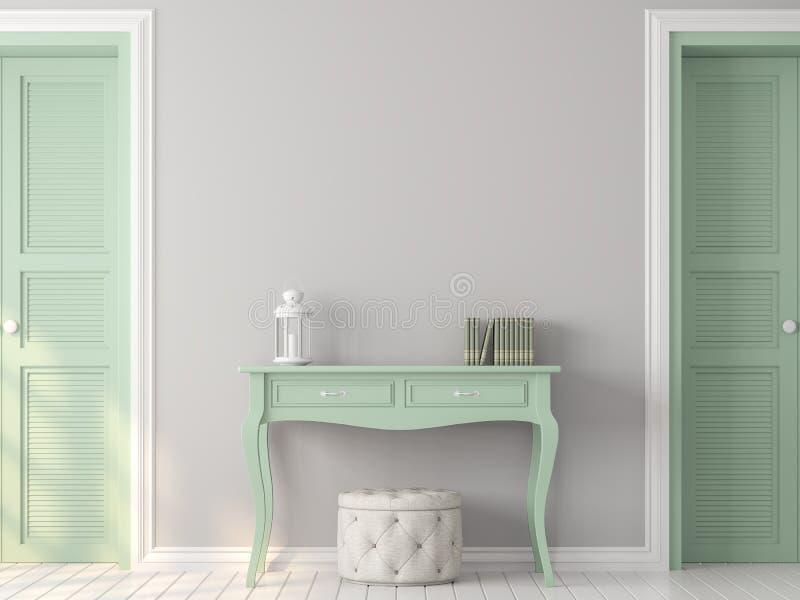 De uitstekende ruimte met 3d pastelkleur grijze en groene kleur geeft terug vector illustratie