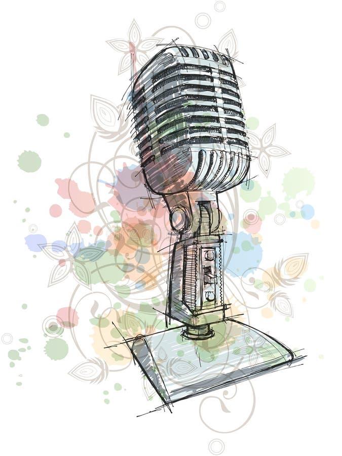 De uitstekende schets van de Microfoon & bloemenornament stock illustratie