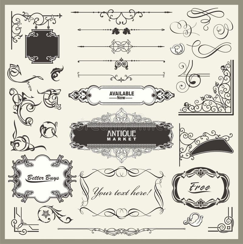 De uitstekende Sier en Ontwerpen van de Decoratie van de Pagina vector illustratie