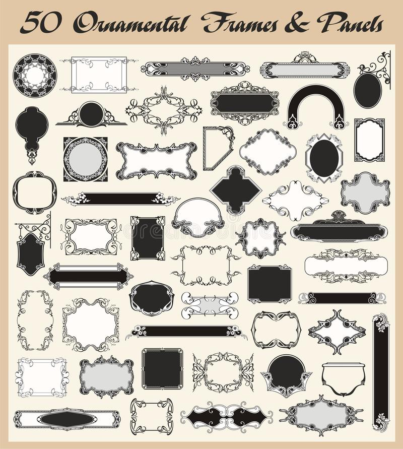 De uitstekende Sier VectorReeks van Frames en van Comités stock illustratie
