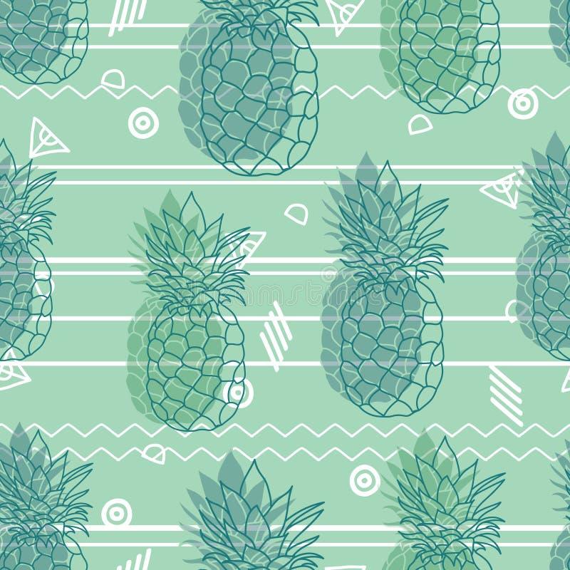 De uitstekende stammen vector naadloze achtergrond van munt groene ananassen herhaalt patroon De zomer kleurrijke tropische texti royalty-vrije illustratie
