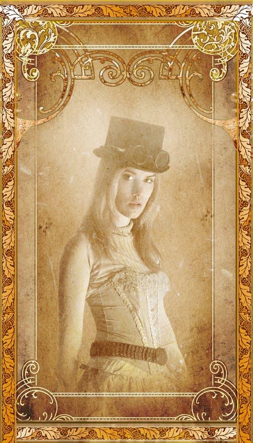 De uitstekende Steampunk-Achtergrond van het Vrouwenportret royalty-vrije stock foto