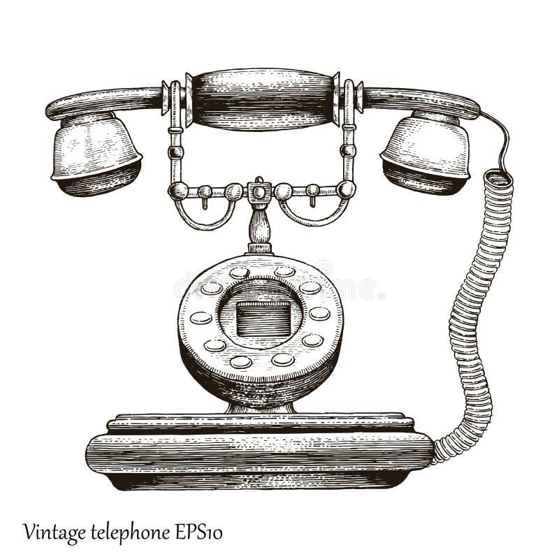 De uitstekende stijl van de de tekeningsgravure van de telefoonhand, Retro telefoon Initi stock illustratie