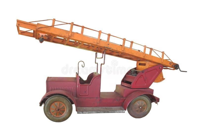 De uitstekende stuk speelgoed geïsoleerde? vrachtwagen van de metaalbrand. royalty-vrije stock fotografie