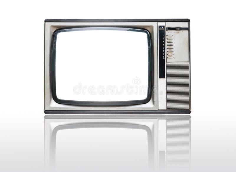 De uitstekende televisie van Grunge die op wit wordt geïsoleerd royalty-vrije stock foto's