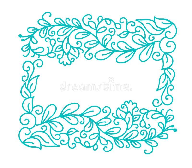 De uitstekende Turkooise vectormonolinekalligrafie bloeit kader voor groetkaart Hand getrokken bloemenmonogramelementen vector illustratie