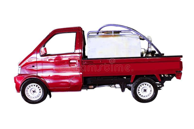 De uitstekende vacuümvrachtwagen van de toiletdienst en voor het schoonmaken De ruimte van het exemplaar stock afbeelding