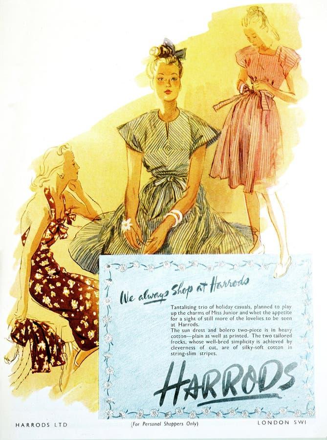 De uitstekende van het Britse Vogue reclame van Harrods maniertijdschrift, van uitgave gedateerd Juli 1946 stock fotografie