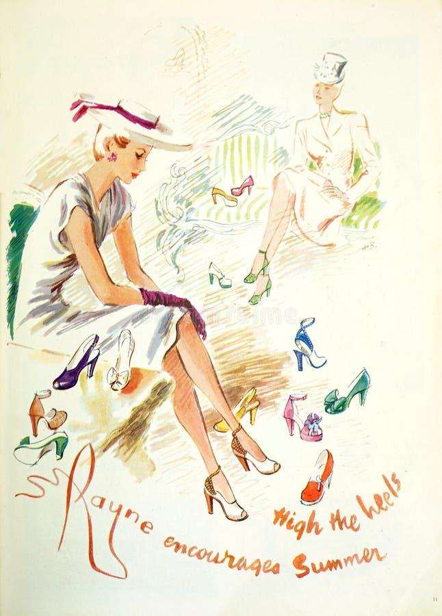 De uitstekende van het Britse Vogue reclame maniertijdschrift, van uitgave gedateerd Juli 1946 royalty-vrije stock foto