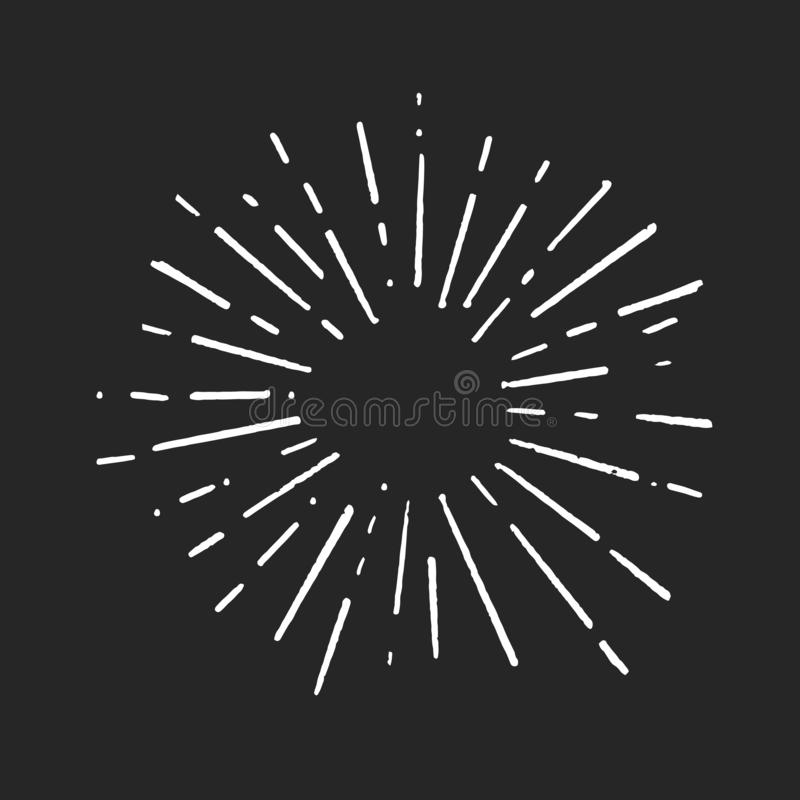 De uitstekende van het de Explosiehand getrokken Ontwerp van de krabbelzonnestraal van het het Elementenvuurwerk witte Stralen stock foto