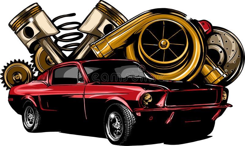 De uitstekende van de de inzamelings witn automobiele motor van autocomponenten van de de motorzuiger van de het stuurwielband ve vector illustratie