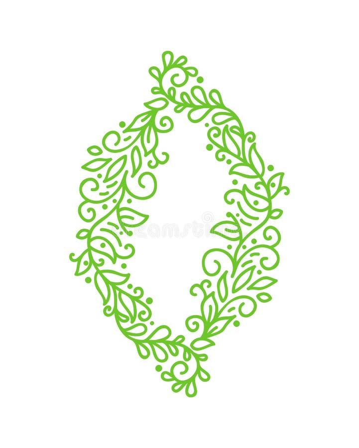 De uitstekende Vector groene monolinekalligrafie bloeit kader voor groetkaart Hand getrokken bloemenmonogramelementen schets vector illustratie