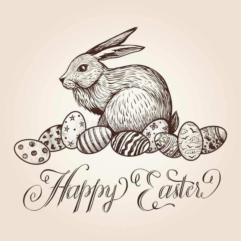 De uitstekende vectorhand getrokken illustratie van Pasen met het van letters voorzien, konijntje en feestelijke eieren vector illustratie