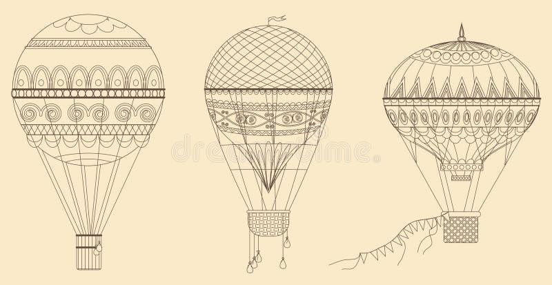 De uitstekende vectorillustratie van hete luchtballons Dunne lijn baloon inzameling royalty-vrije illustratie