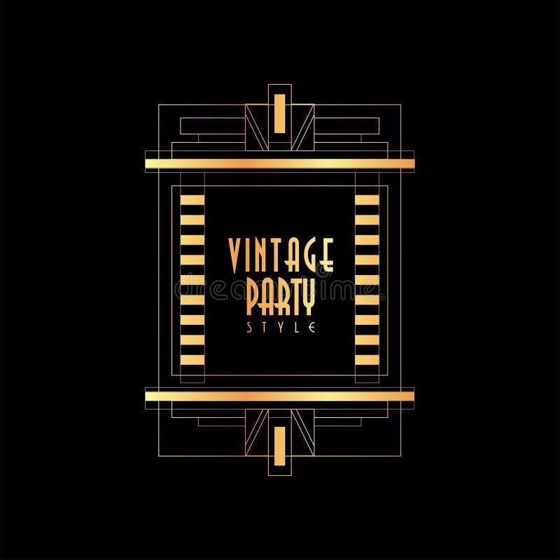 De uitstekende vectorillustratie van de partijstijl, gouden en zwart elegant malplaatje voor uitnodiging, groetkaart, aanplakbilj royalty-vrije illustratie