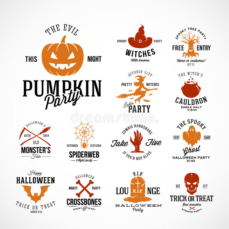 De uitstekende Vectorkentekens van Halloween of Etikettenmalplaatjes Pompoen, Spook, Schedel, Beenderen, Knuppels en Andere Symbo stock illustratie