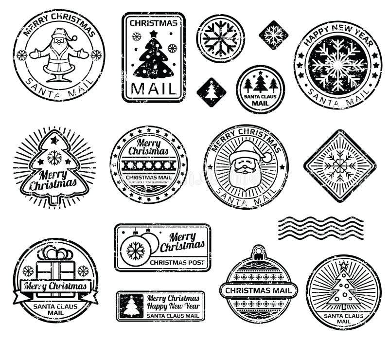 De uitstekende vectorreeks van Kerstmispostzegels vector illustratie