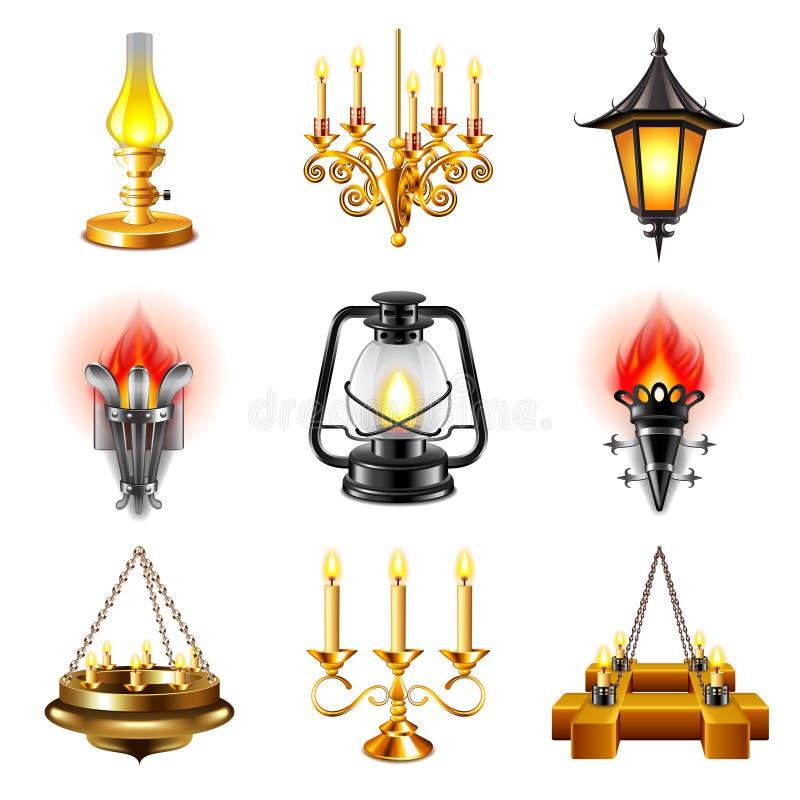 De uitstekende vectorreeks van lampenpictogrammen vector illustratie