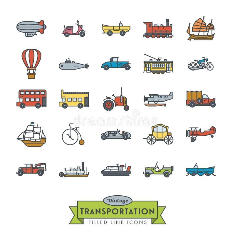 De uitstekende vervoer gevulde inzameling van lijnpictogrammen stock illustratie